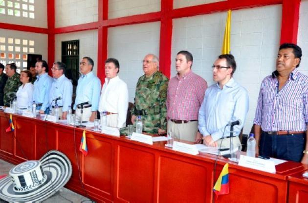 Presidente Juan Manuel Santos en Consejo de Seguridad en Tierralta, Córdoba.