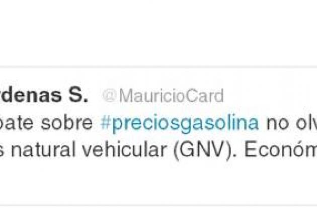 Twitter de Maricio Cárdenas