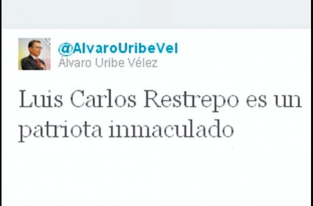 Twitter del expresidente Álvaro Uribe Vélez.