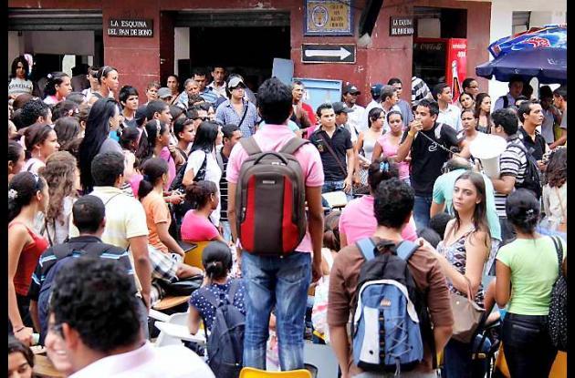 Los estudiantes de la Universidad de Cartagena protestan en contra de la reforma