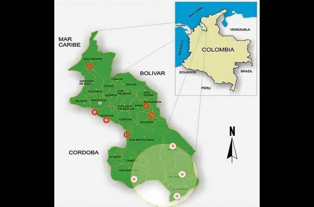 Mapa de Sucre que muestra la ubicación de las bacrim.