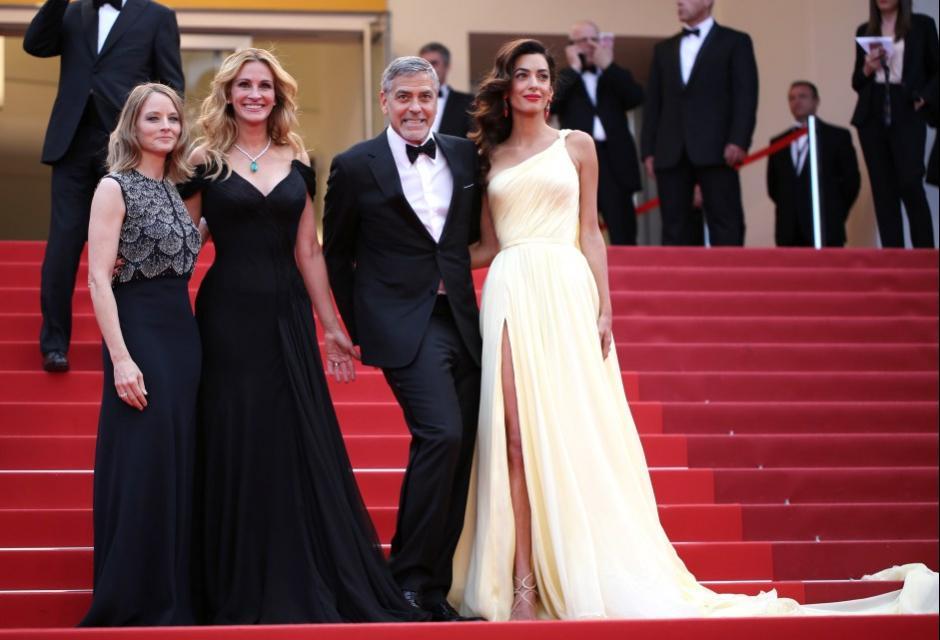 Jodie Foster, Julia Roberts, George Clooney y Amal Clooney.