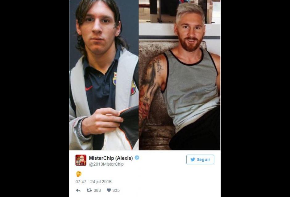 memes cambio de look messi rubio platinado