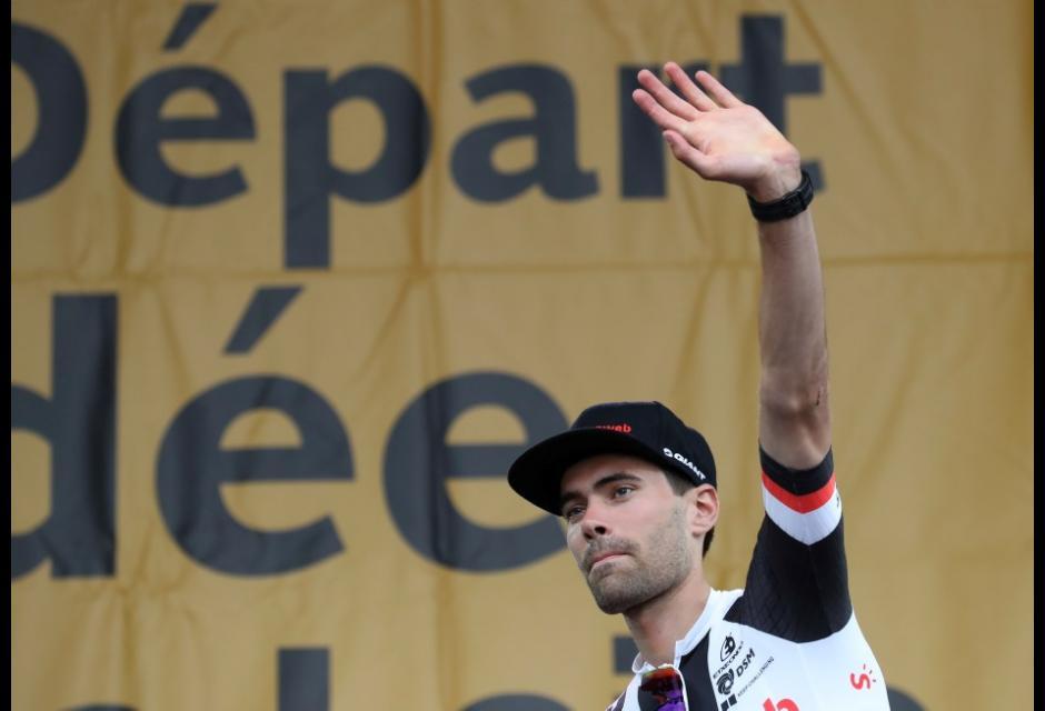 Tom Dumoulin durante presentación del Tour de Francia 2018
