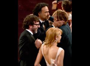 Nicolás Giacobone y Mariana en los Oscar.