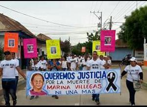 Marcha en El Carmen de Bolívar por asesinato de Marina Villegas.