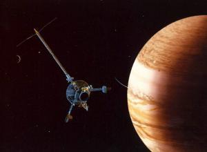 Imagen del trabajo de exploración de la nave especial de la NASA Galileo en Júpiter.