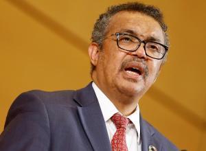 El director general de la Organización Mundial de la Salud, Tedro Adhanom Ghebreyesus, pronuncia un discurso durante la Asamblea Mundial de la Salud, en la sede de la ONU de Ginebra, este 21 de mayo.