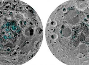 Imagen de los polos de luna donde científicos hallaron hielo.