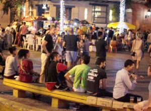Personas en un plaza