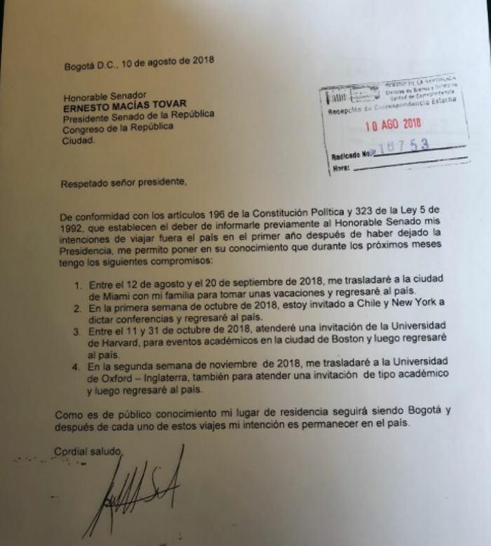 Presidente del Congreso colombiano pide iniciar investigación contra Santos